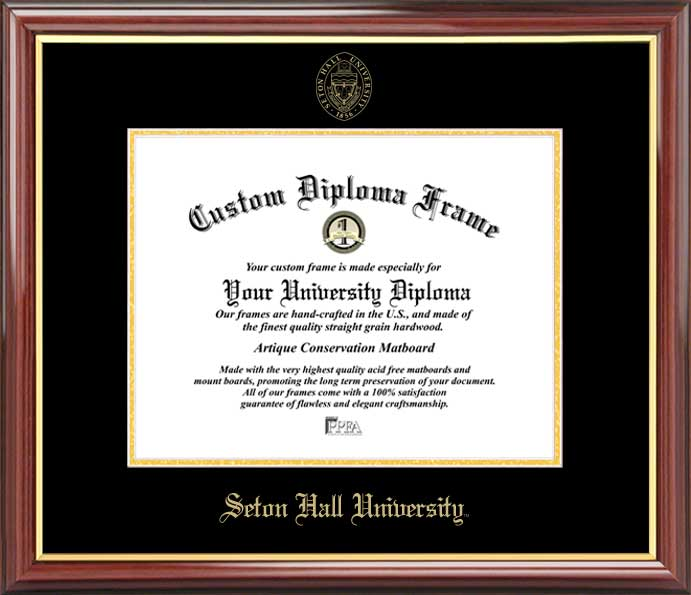 College - Seton Hall University Pirates - Embossed Seal - Mahogany Gold Trim - Diploma Frame