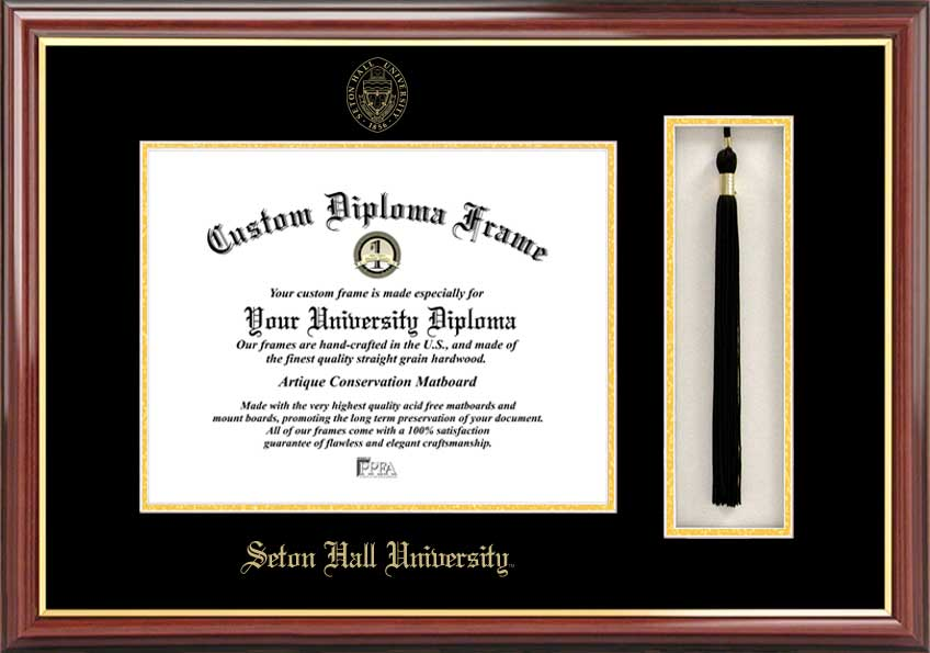 College - Seton Hall University Pirates - Embossed Seal - Tassel Box - Mahogany - Diploma Frame