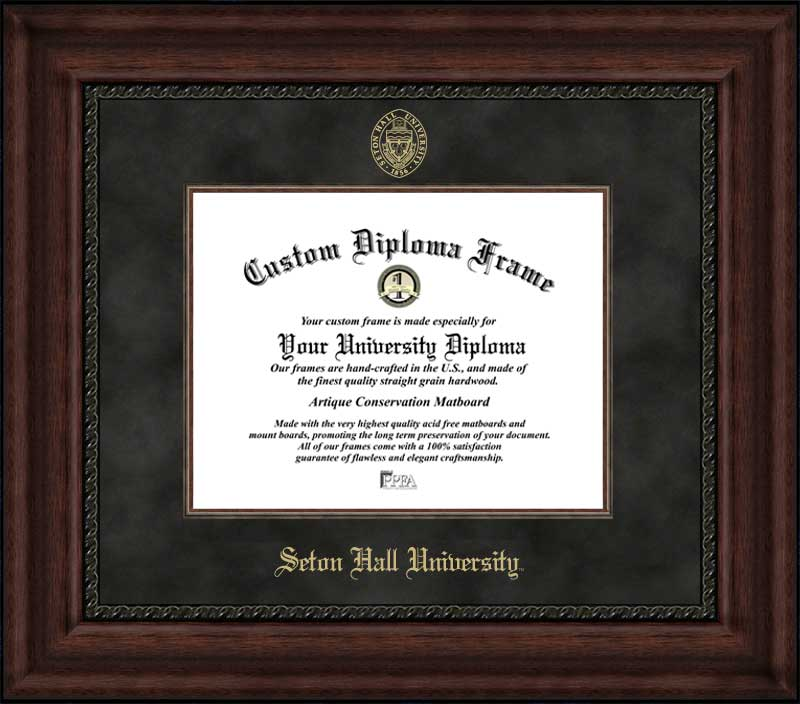 College - Seton Hall University Pirates - Embossed Seal - Suede Mat - Mahogany - Diploma Frame