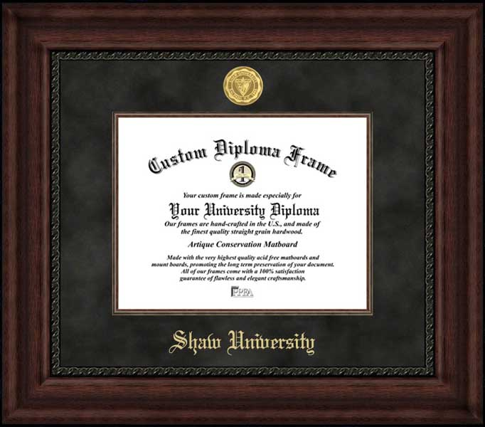 College - Shaw University Bears - Gold Medallion - Suede Mat - Mahogany - Diploma Frame