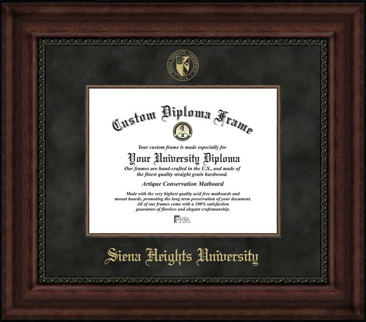 College - Siena Heights University Saints - Embossed Seal - Suede Mat - Mahogany - Diploma Frame
