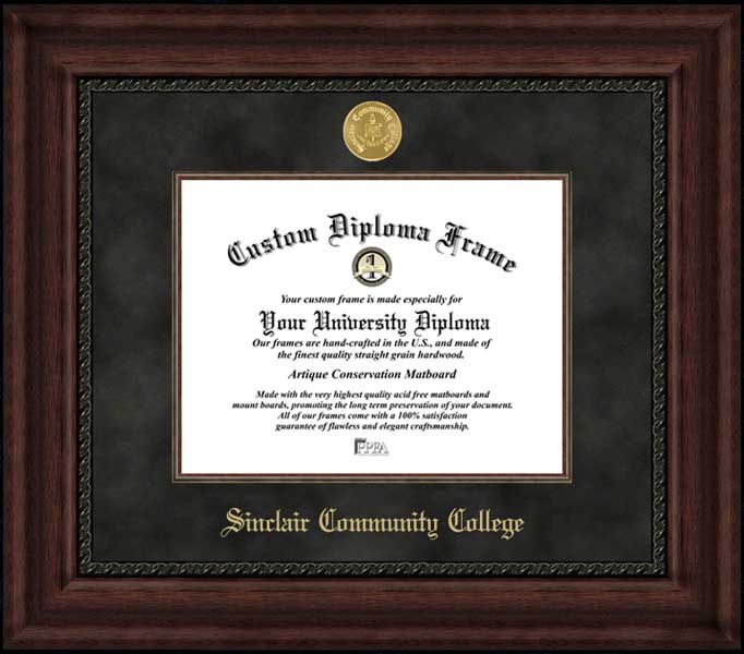 College - Sinclair Community College Tartan Pride - Gold Medallion - Suede Mat - Mahogany - Diploma Frame