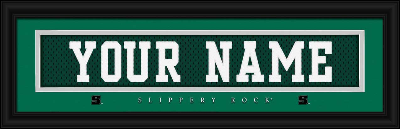 College - Slippery Rock U. of Pennsylvania - Personalized Jersey Nameplate - Framed Picture