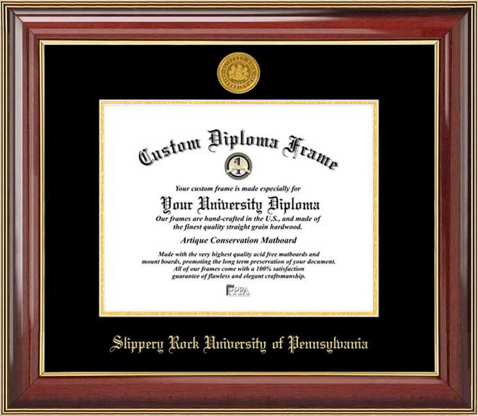 College - Slippery Rock University of Pennsylvania The Rock - Gold Medallion - Mahogany Gold Trim - Diploma Frame