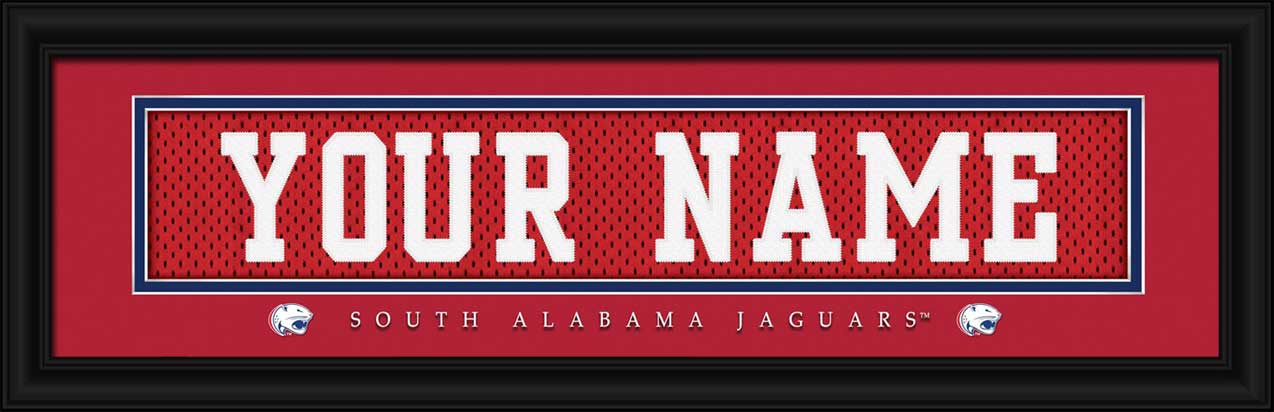 College - South Alabama Jaguars - Personalized Jersey Nameplate - Framed Picture