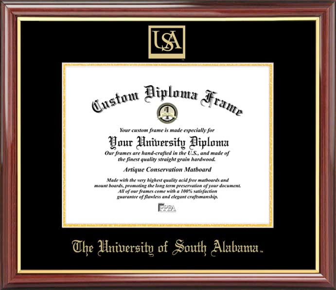 College - University of South Alabama Jaguars - Embossed Seal - Mahogany Gold Trim - Diploma Frame