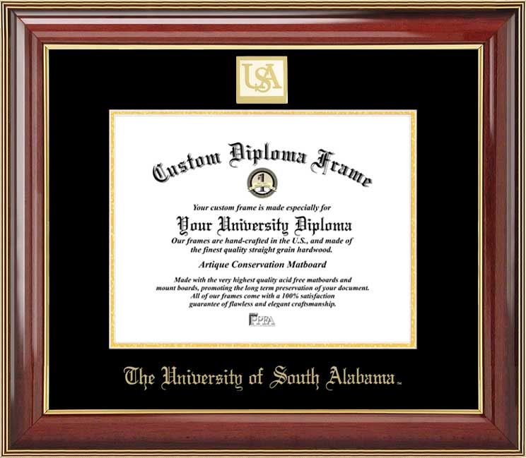College - University of South Alabama Jaguars - Gold Medallion - Mahogany Gold Trim - Diploma Frame