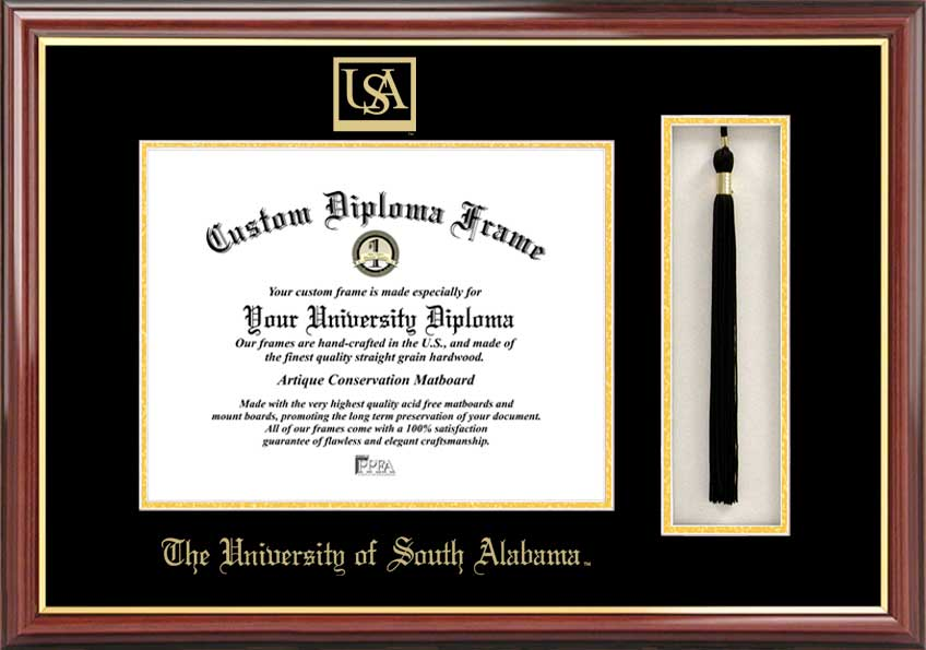 College - University of South Alabama Jaguars - Embossed Seal - Tassel Box - Mahogany - Diploma Frame