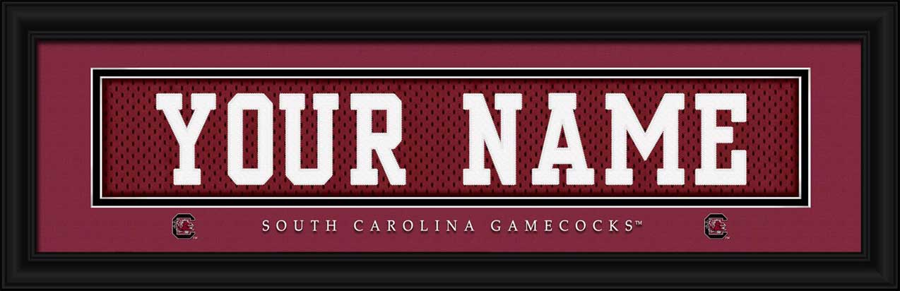 College - South Carolina Gamecocks - Personalized Jersey Nameplate - Framed Picture