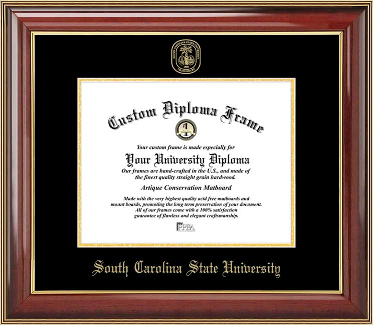College - South Carolina State University Bulldogs - Embossed Seal - Mahogany Gold Trim - Diploma Frame