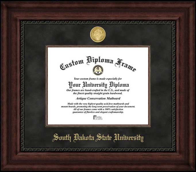 College - South Dakota State University Jackrabbits - Gold Medallion - Suede Mat - Mahogany - Diploma Frame