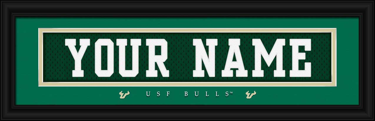 College - South Florida Bulls - Personalized Jersey Nameplate - Framed Picture