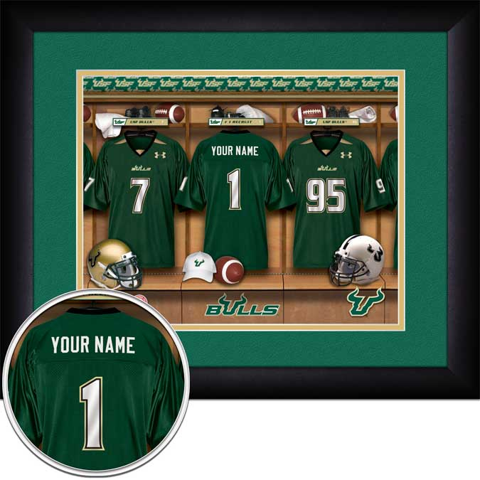 College - South Florida Bulls - Personalized Locker Room - Framed Picture