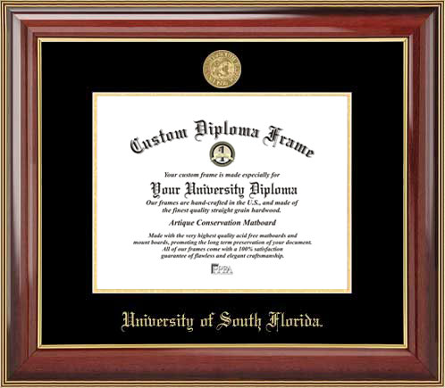 College - University of South Florida Bulls - Gold Medallion - Mahogany Gold Trim - Diploma Frame