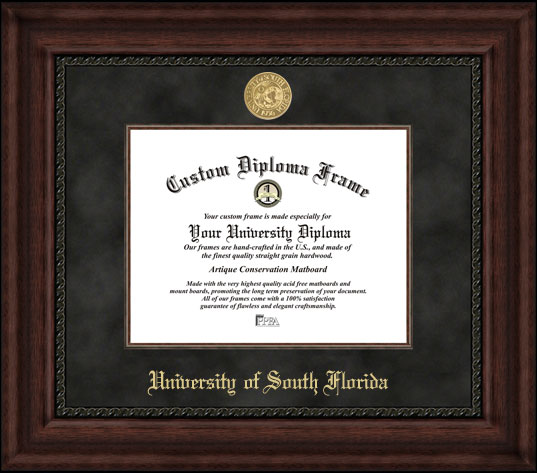 College - University of South Florida Bulls - Gold Medallion - Suede Mat - Mahogany - Diploma Frame