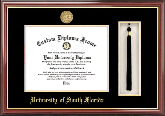 College - University of South Florida Bulls - Gold Medallion - Tassel Box - Mahogany - Diploma Frame