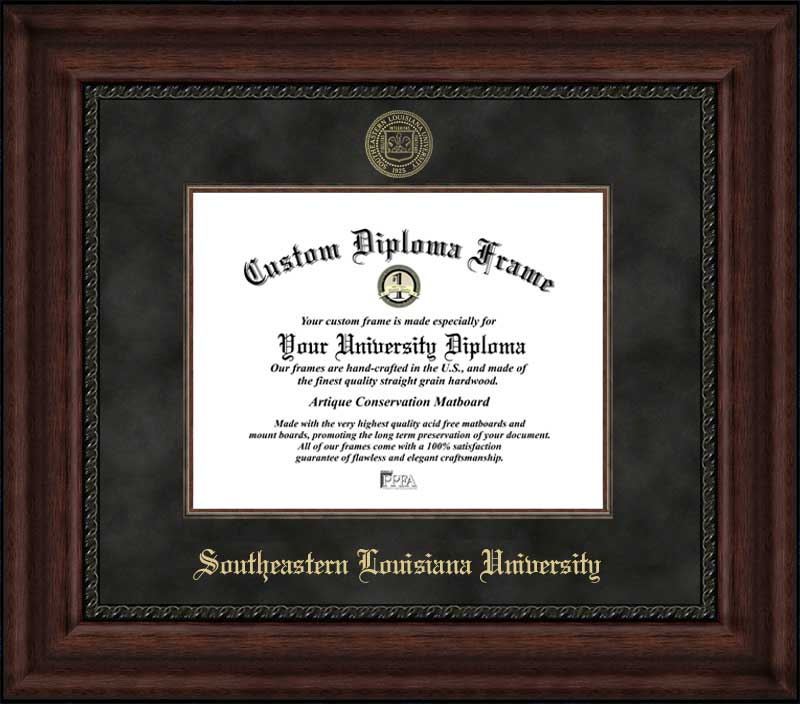 College - Southeastern Louisiana University Lions - Embossed Seal - Suede Mat - Mahogany - Diploma Frame