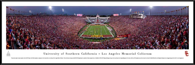 College - Southern California Trojans - Los Angeles Memorial Coliseum - End Zone - Framed Picture