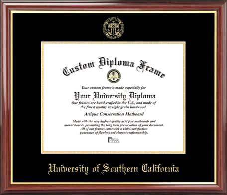 College - University of Southern California Trojans - Embossed Seal - Mahogany Gold Trim - Diploma Frame