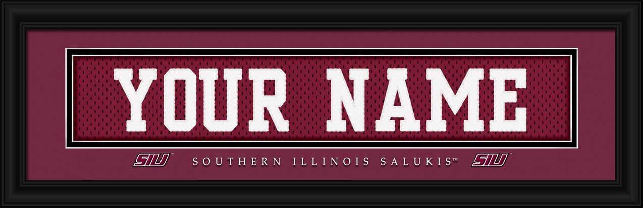 College - Southern Illinois Salukis - Personalized Jersey Nameplate - Framed Picture