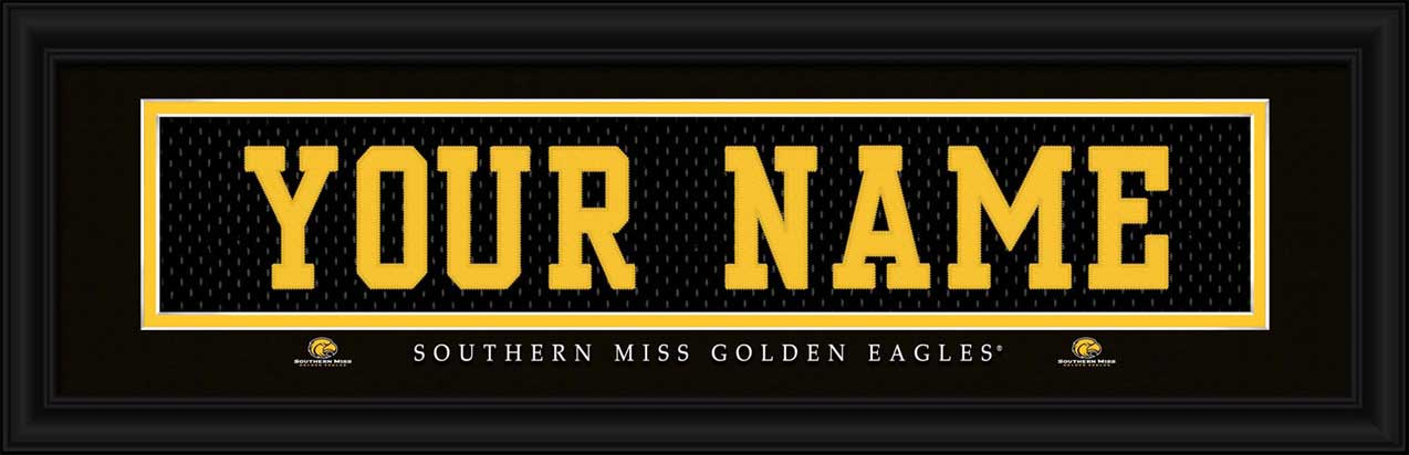 College - Southern Mississippi Golden Eagles - Personalized Jersey Nameplate - Framed Picture