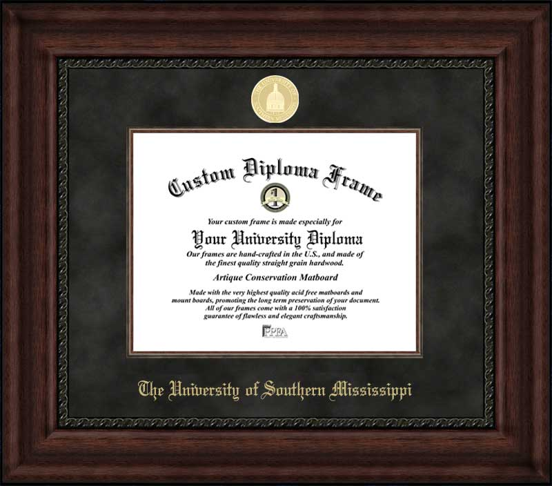 College - University of Southern Mississippi Golden Eagles - Gold Medallion - Suede Mat - Mahogany - Diploma Frame