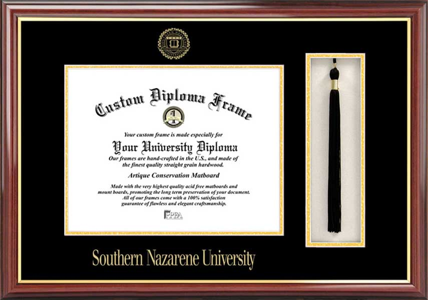 College - Southern Nazarene University Crimson Storm - Embossed Seal - Tassel Box - Mahogany - Diploma Frame