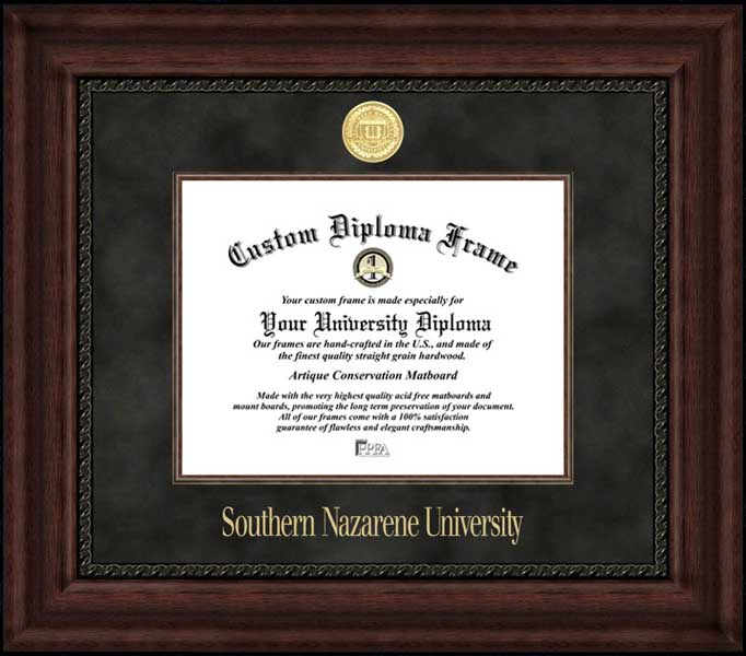 College - Southern Nazarene University Crimson Storm - Gold Medallion - Suede Mat - Mahogany - Diploma Frame