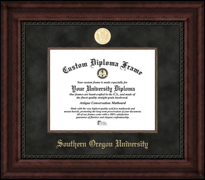 College - Southern Oregon University Raiders - Gold Medallion - Suede Mat - Mahogany - Diploma Frame