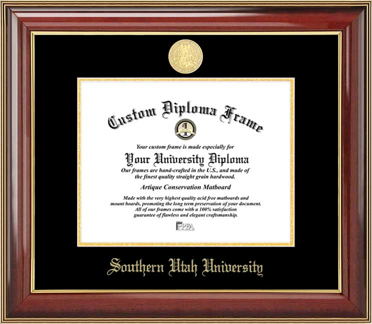 College - Southern Utah University Thunderbirds - Gold Medallion - Mahogany Gold Trim - Diploma Frame