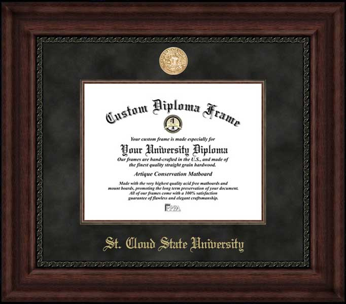 College - St. Cloud State University Huskies - Gold Medallion - Suede Mat - Mahogany - Diploma Frame