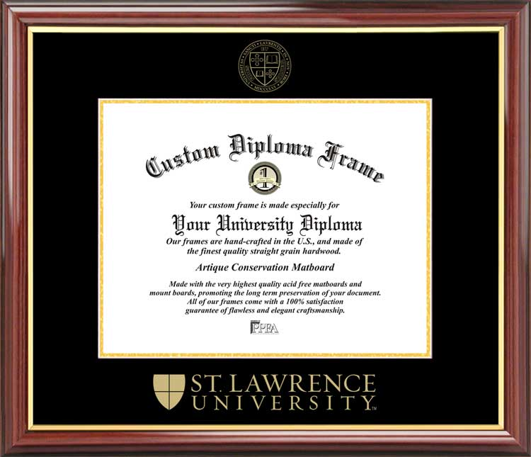 College - St. Lawrence University Saints - Embossed Seal - Mahogany Gold Trim - Diploma Frame
