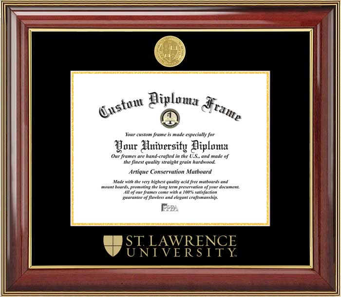 College - St. Lawrence University Saints - Gold Medallion - Mahogany Gold Trim - Diploma Frame