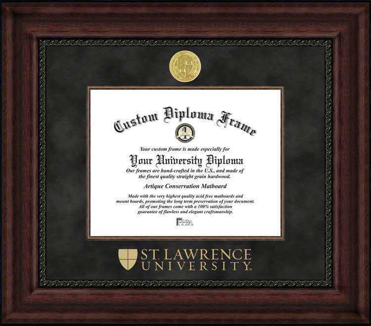 College - St. Lawrence University Saints - Gold Medallion - Suede Mat - Mahogany - Diploma Frame