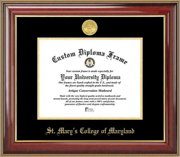 College - St. Mary's College of Maryland Seahawks - Gold Medallion - Mahogany Gold Trim - Diploma Frame