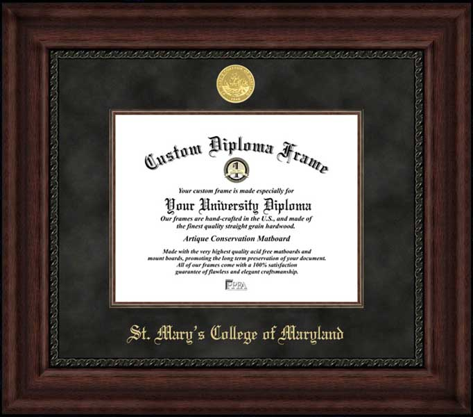 College - St. Mary's College of Maryland Seahawks - Gold Medallion - Suede Mat - Mahogany - Diploma Frame