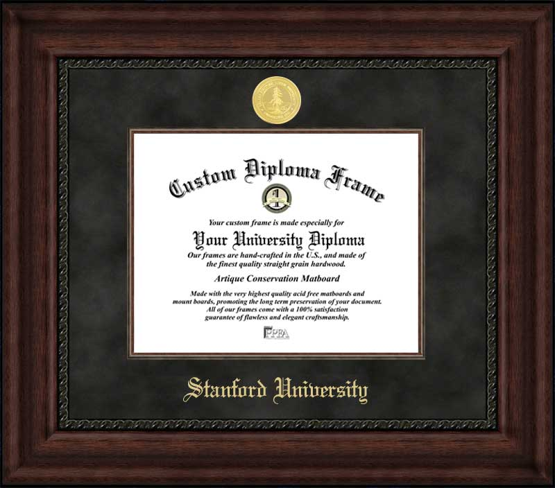 College - Stanford University Cardinal - Gold Medallion - Suede Mat - Mahogany - Diploma Frame