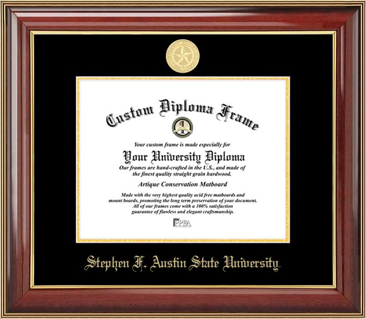 College - Stephen F. Austin State University Lumberjacks - Gold Medallion - Mahogany Gold Trim - Diploma Frame