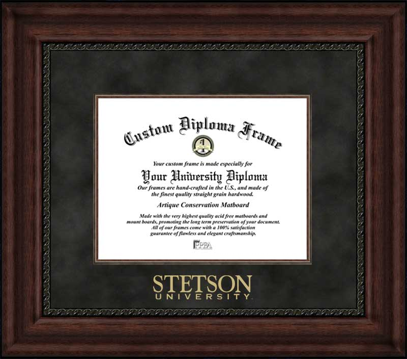 College - Stetson University Hatters - Embossed Seal - Suede Mat - Mahogany - Diploma Frame