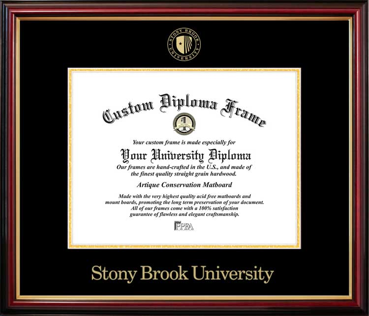 College - Stony Brook University, SUNY Seawolves - Embossed Seal - Mahogany Gold Trim - Diploma Frame