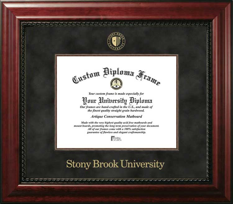 College - Stony Brook University, SUNY Seawolves - Embossed Seal - Suede Mat - Mahogany - Diploma Frame