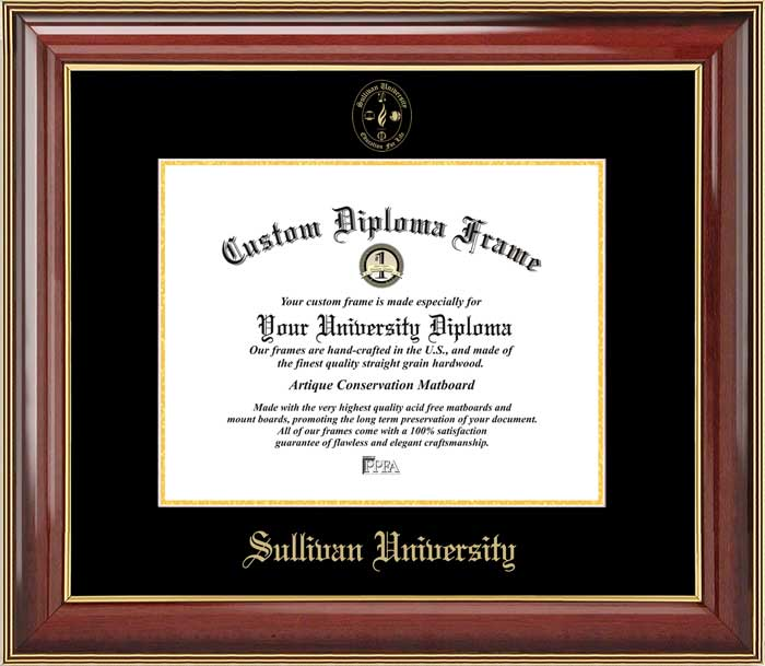College - Sullivan University  - Embossed Seal - Mahogany Gold Trim - Diploma Frame