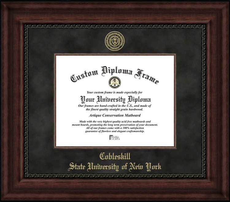 College - State University of New York at Cobleskill Fighting Tigers - Embossed Seal - Suede Mat - Mahogany - Diploma Frame