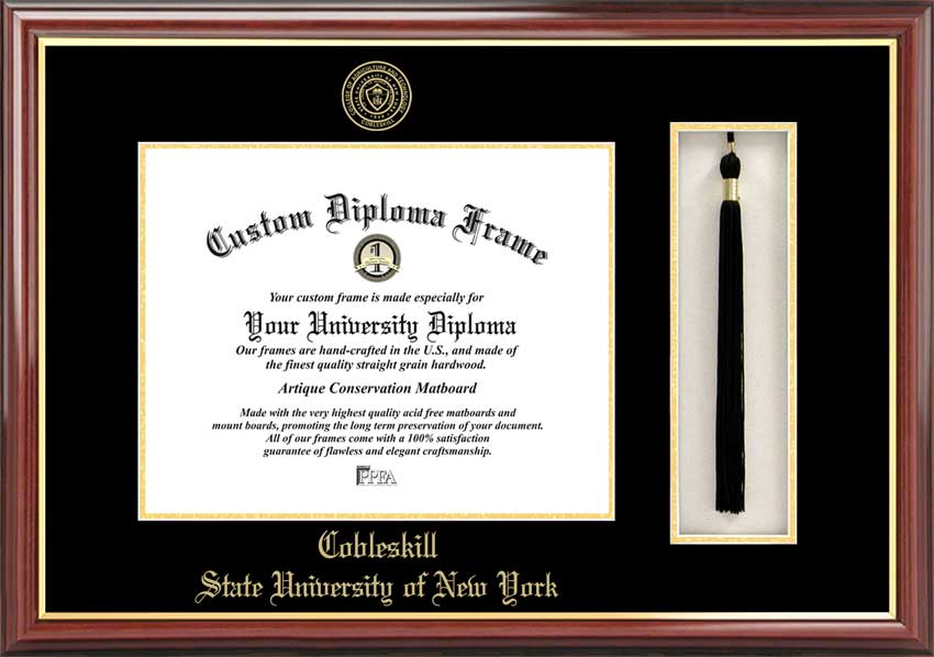 College - State University of New York at Cobleskill Fighting Tigers - Embossed Seal - Tassel Box - Mahogany - Diploma Frame