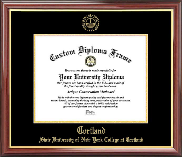 College - SUNY College at Cortland Red Dragons - Embossed Seal - Mahogany Gold Trim - Diploma Frame