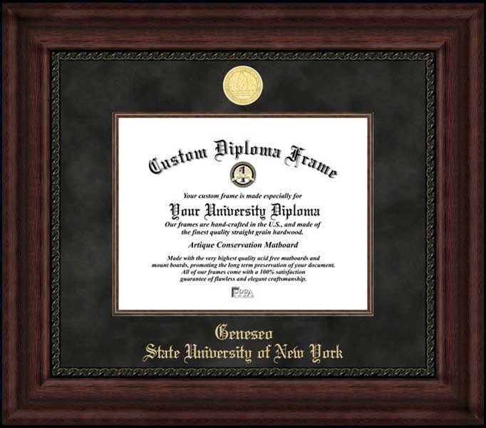 College - State University of New York at Geneseo Knights - Gold Medallion - Suede Mat - Mahogany - Diploma Frame
