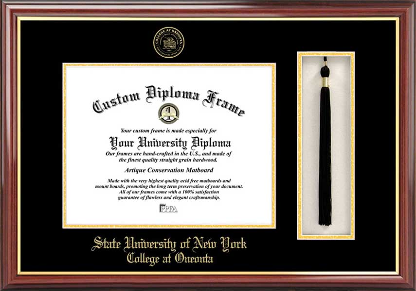 College - SUNY College at Oneonta Red Dragons - Embossed Seal - Tassel Box - Mahogany - Diploma Frame