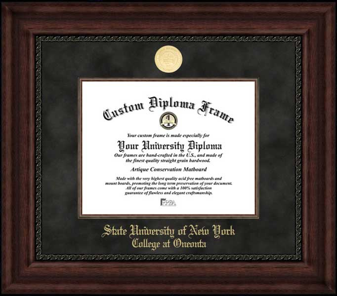 College - SUNY College at Oneonta Red Dragons - Gold Medallion - Suede Mat - Mahogany - Diploma Frame