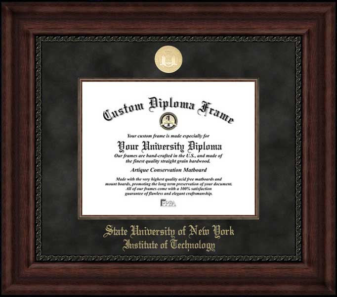 College - SUNY Institute of Technology Wildcats - Gold Medallion - Suede Mat - Mahogany - Diploma Frame