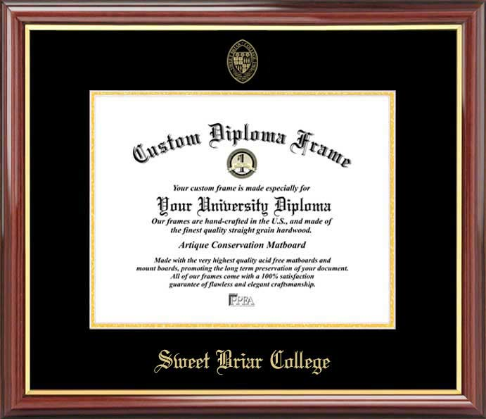 College - Sweet Briar College Vixens - Embossed Seal - Mahogany Gold Trim - Diploma Frame
